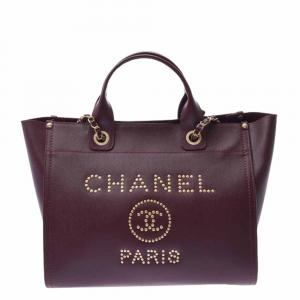 Chanel Bordeaux Leather Deauville Studded Logo Tote Bag