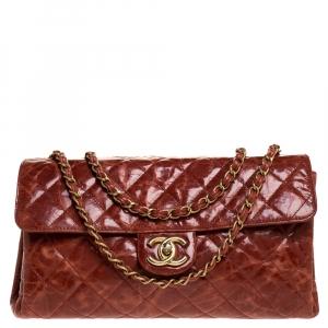 Chanel Burnt Orange Aged Leather Rectangular Sac Class Rabat Flap Bag
