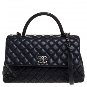 Chanel Navy Blue Caviar Leather Coco Top Handle Bag