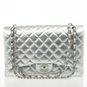 Chanel Silver Lambskin Maxi Flap