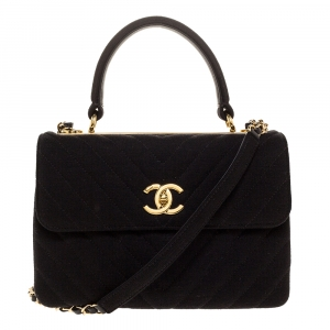Chanel Black Quilted Jersey Small Coco Top Handle Bag