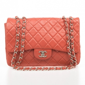 Chanel Maxi Orange Lambskin Classic Flap Bag