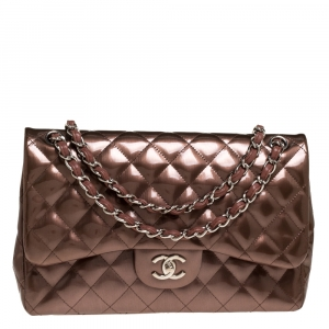 Chanel Antique Rose Quilted Patent Vinyl Jumbo Classic Double Flap Bag