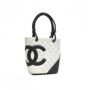 Chanel White and Black Small Ligne Cambon Tote