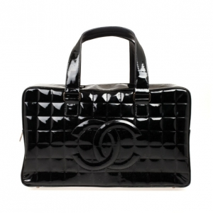 Chanel Black Patent Cube Quilted East West Tote