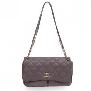 Chanel Maxi Purple Leather Classic Flap Bag