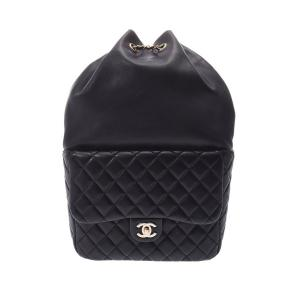 Chanel Black Quilted Lambskin Leather Backpack