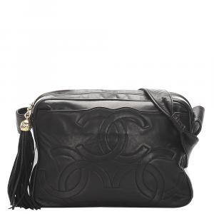 Chanel Black Lambskin Leather Triple Coco Vintage Crossbody Bag