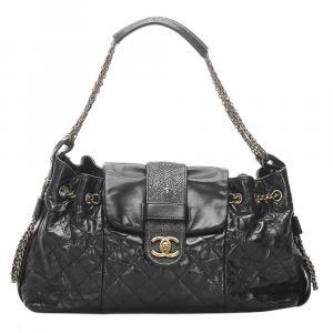 Chanel Black Lambskin Leather Accordion Bindi Stingray Trim Shoulder Bag