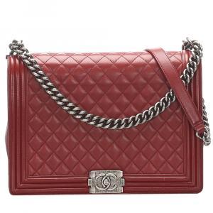 Chanel Red Lambskin Leather Large Boy Shoulder Bag
