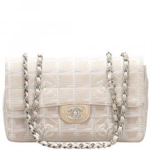 Chanel Beige/Brown Nylon Shoulder Bag