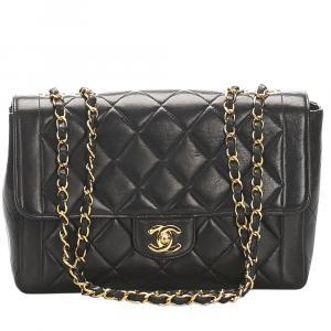 Chanel Black Lambskin Leather Medium Single Flap Shoulder Bag