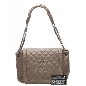 Chanel Brown Lambskin Leather Classic CC Lather Flap Bag