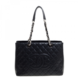 Chanel Black Quilted Caviar Leather Grand Shopping Tote