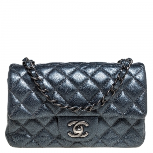 Chanel Metallic Dark Blue Quilted Leather New Mini Classic Single Flap Bag