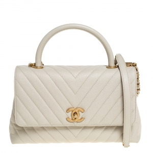 Chanel White Quilted Caviar Leather Small Coco Top Handle Bag