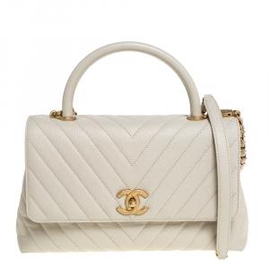 """حقيبة شانيل """"كوكو"""" صغيرة يد علوية جلد كافيار مبطن أبيض"""