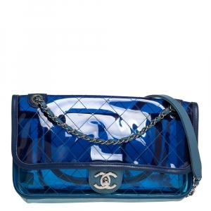 حقيبة شانيل بغطاء قلاب كوكو سبلاش متوسطة زرقاء اللون بي في سي وجلد