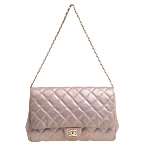 Chanel Light Lilac Shimmer Nubuck Leather Classic Single Flap Bag