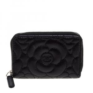 محفظة عملات معدنية شانيل سحاب ملتف جلد نقش كاميليا أسود