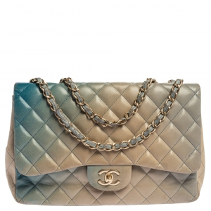 Chanel Blue/Beige Ombre Quilted Leather Jumbo Classic Single Flap Bag