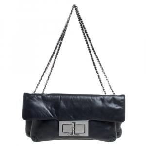 Chanel Dark Blue Leather Mademoiselle Turn Lock Flap Bag