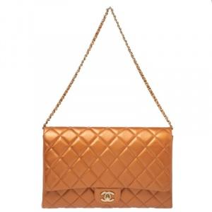 Chanel Orange Quilted Leather Flap Shoulder Bag