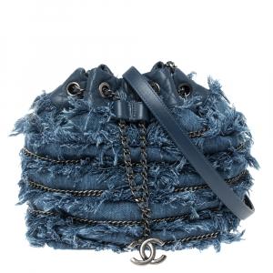 Chanel Blue Denim CC Fringe Drawstring Bucket Bag