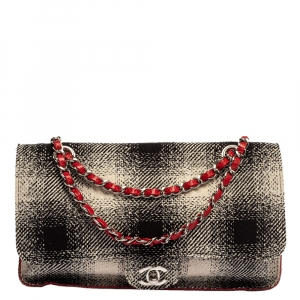 Chanel Red Check Tweed and Leather Single Classic Flap Bag