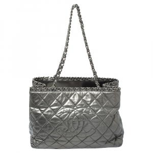 Chanel Grey Glazed Quilted Leather Chain Me Tote