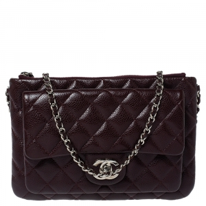 Chanel Dark Burgundy Quilted Caviar Leather Front Pocket Chain Bag