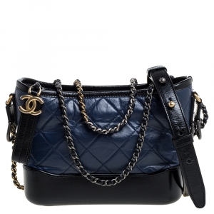 Chanel Blue/Black Quilted Leather Small Gabrielle Bag