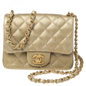 Chanel Gold Quilted Leather Mini Square Classic Flap Bag
