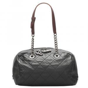 Chanel Black Lambskin Leather Matelasse Bag