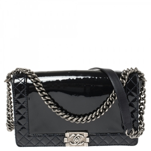 Chanel Navy Blue Patent Leather Medium Boy Reverso Bag