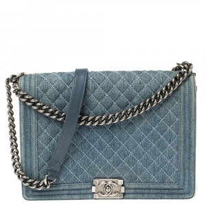 Chanel Blue Denim Quilted Leather Large Boy Flap Bag