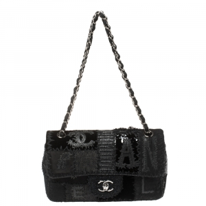 Chanel Black Patchwork Fabric and Leather Single Flap Bag