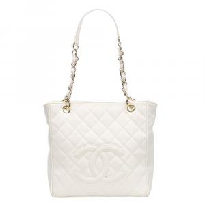 Chanel White Caviar Leather Petite Shopping Bag