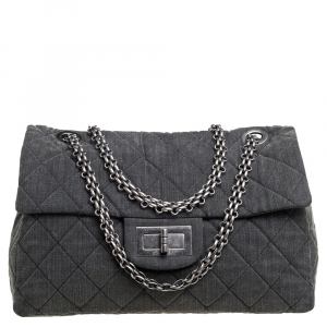 Chanel Grey Quilted Fabric Limited Edition XXL Reissue Travel Bag