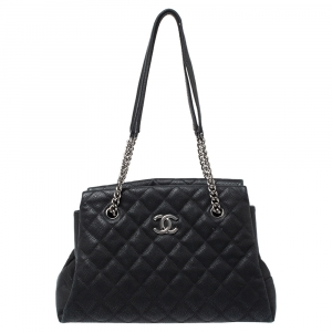 Chanel Black Caviar Leather Lady Pearly Tote