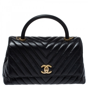 Chanel Black Chevron Aged Leather Small Coco Top Handle Bag