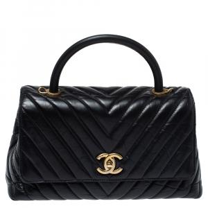 حقيبة شانيل كوكو صغيرة يد علوية جلد متعرج أسود