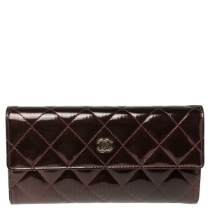 Chanel Burgundy Quilted Patent Leather CC Flap Wallet