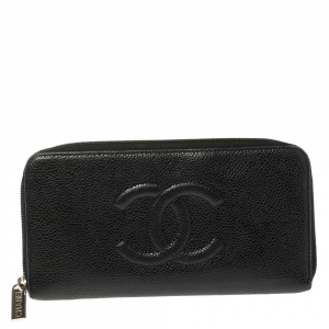 Chanel Black Leather Timeless CC Zip Around Wallet