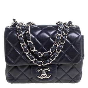Chanel Navy Blue Quilted Leather Mini Classic Flap Bag