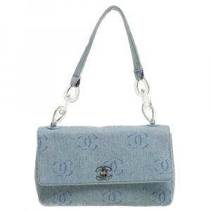 Chanel Wash Blue CC Denim Jumbo Classic Single Flap Bag