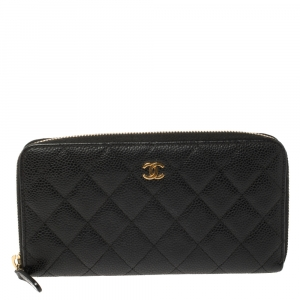Chanel Black Quilted Caviar Leather CC Zip Around Wallet