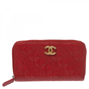 Chanel Red Caviar Leather CC Zip-Around Wallet