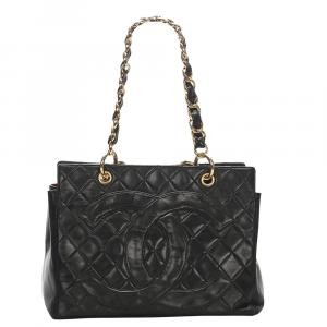 Chanel Black Leather Timeless Shopping Tote Bag