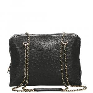 Chanel Black Ostrich Leather Vintage Shoulder Bag